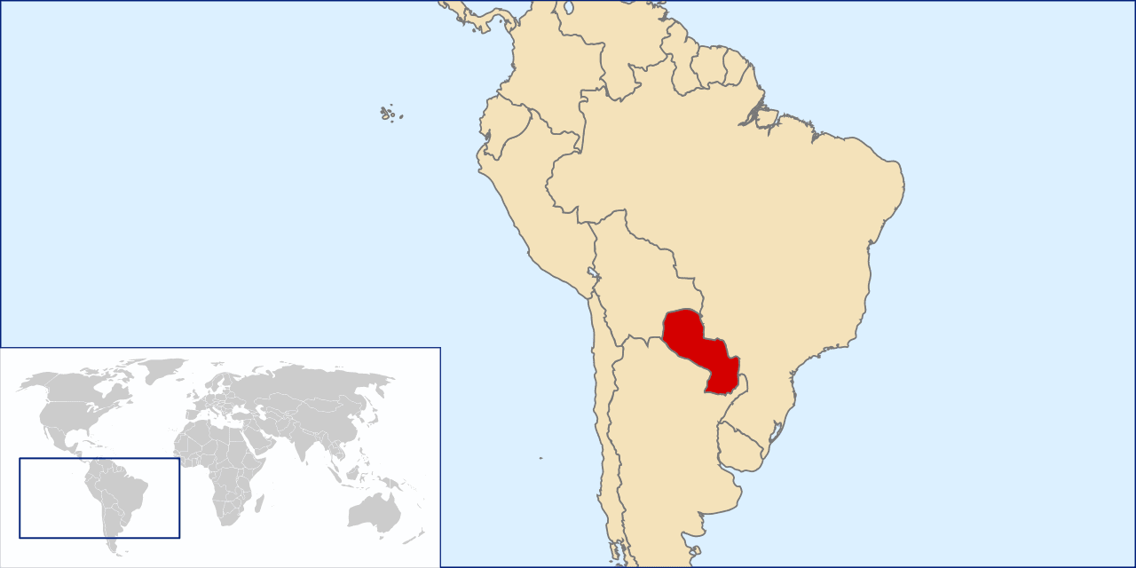 A Map Of South America With Paraguay Highlighted In Red