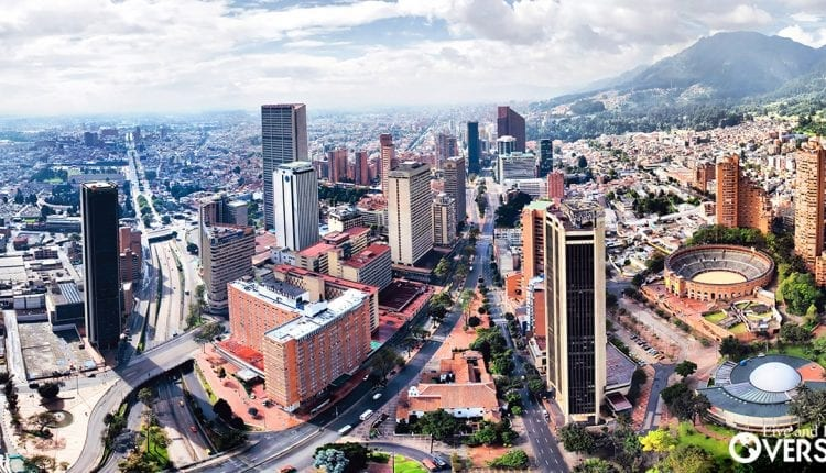 aerial view of the city center of bogota colombia