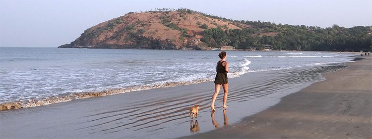 Woman and small dog jogging on beach at sunset