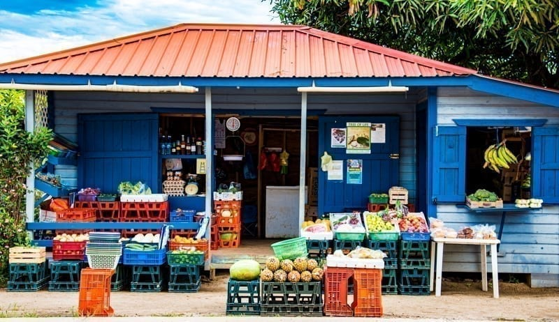 Local shop with produce in Belize