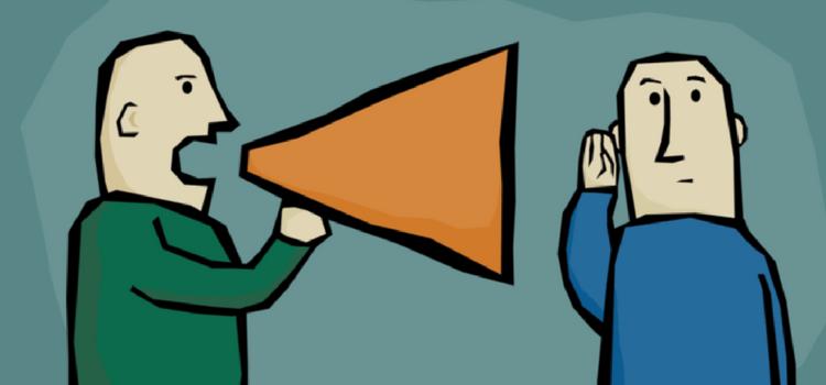 talking in megaphone