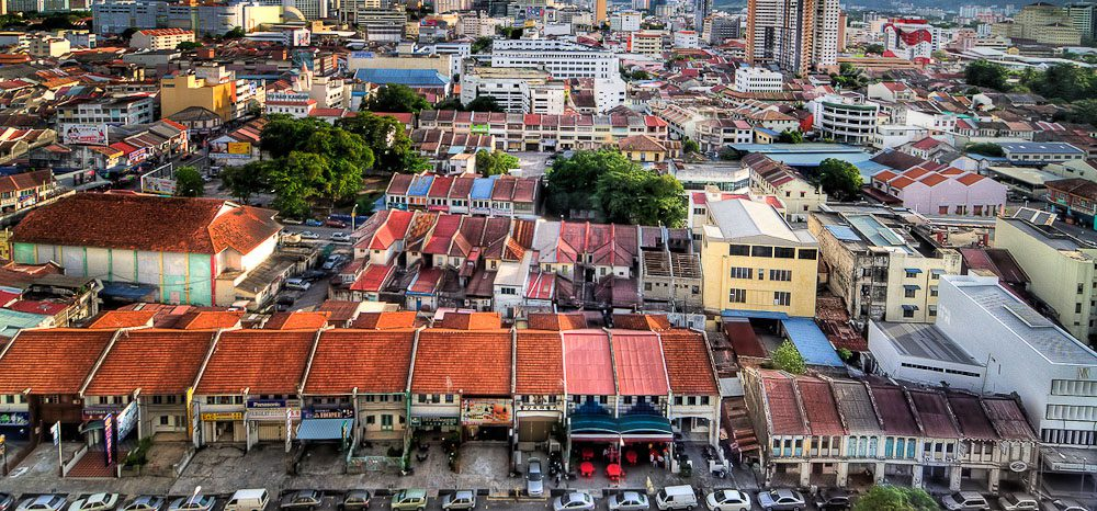 aerial vew of apartments in George Town Malaysia