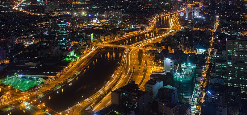 night time aerial view of Ho Chi Minh