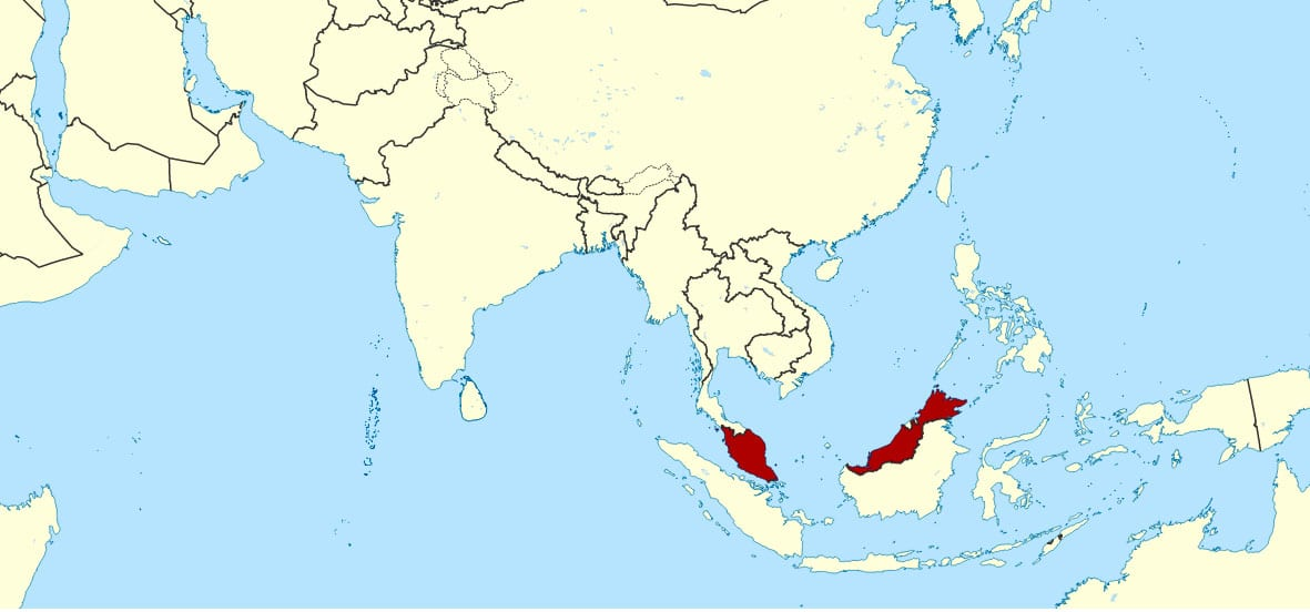a map showing malaysia's location in asia