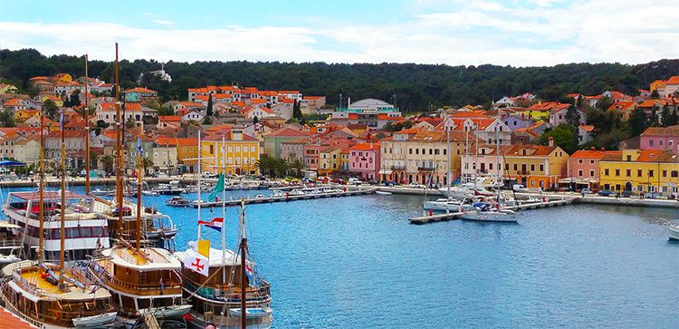 colorful buildings by a marina in croatia