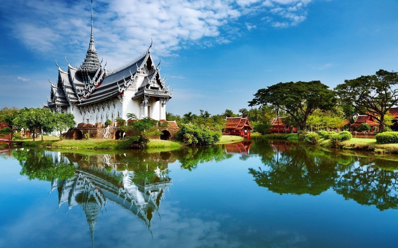 View of a lake and temple in Thailand