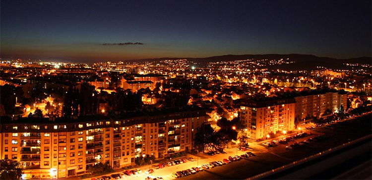 A nighttime view of Zagreb, Croatia.