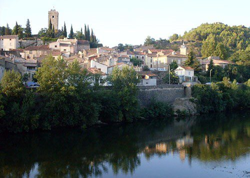 Houses on the banks of the Orb River in Languedoc France