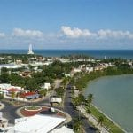 Aerial view of coastal town chetumal mexico