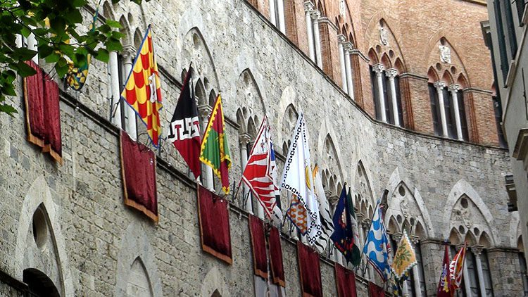Flags representing the 17 Contrade, or distrcits, of Siena