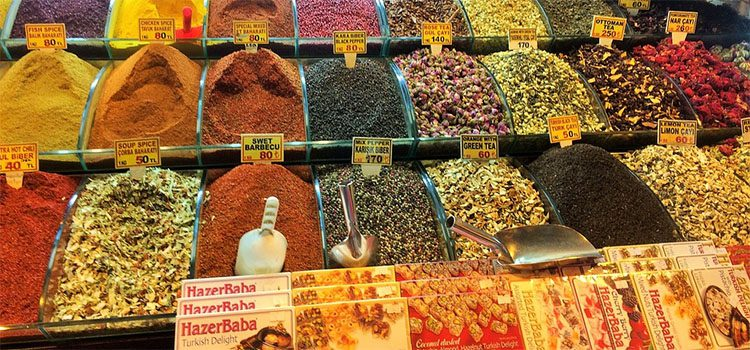 Mounds of Spices and Teas For Sale At A Local Market