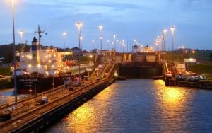 the Panama Canal Locks lit up at night