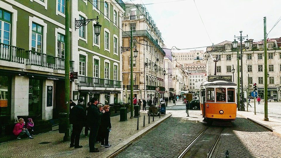 Downtown Lisbon, a colorful area popular with tourists and locals