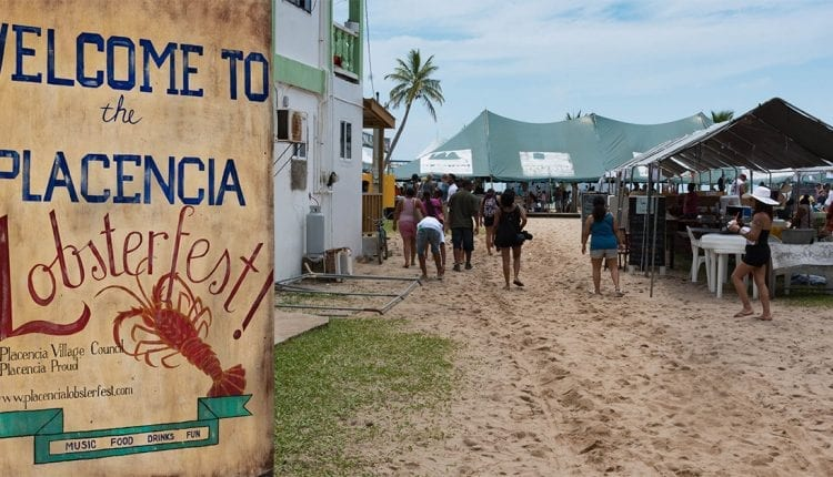 A welcome sign for the city of Placencia Lobsterfest