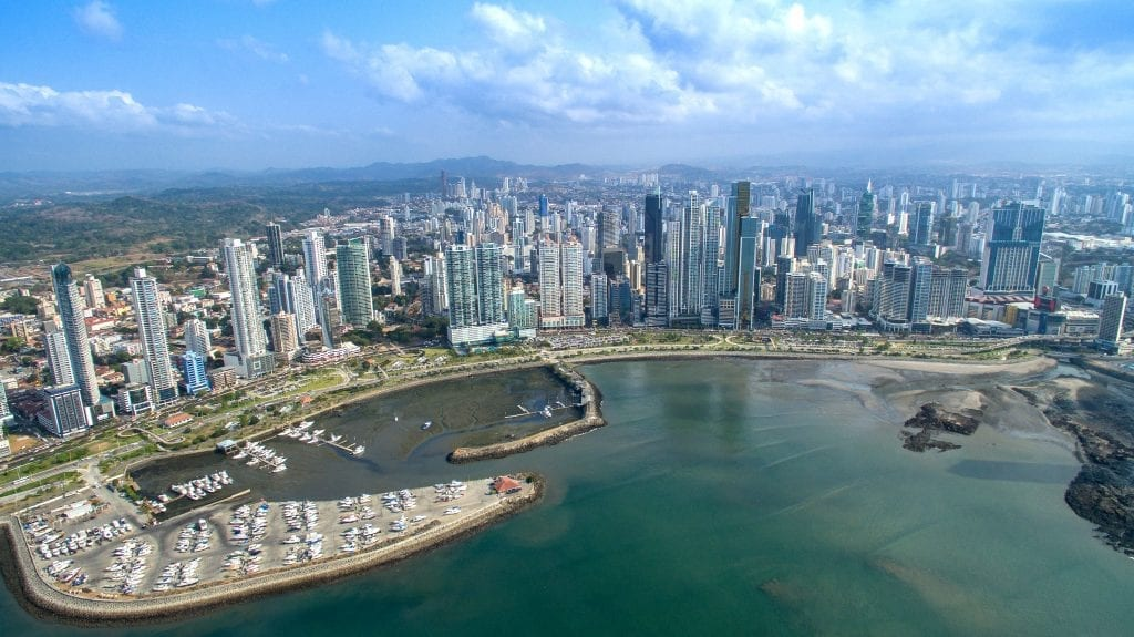 The Bay of Panama with tall skyscrapers and marina