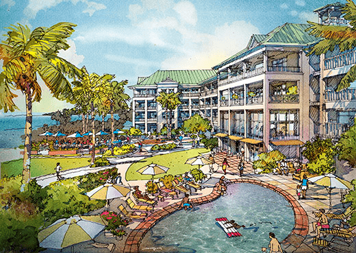 The British colonial theme is unique and appealing [architect's rendering of Grand Baymen Oceanside]