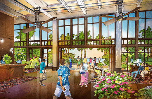 The Grand Baymen lobby brings back Belize's British colonial heritage [architect's rendering]