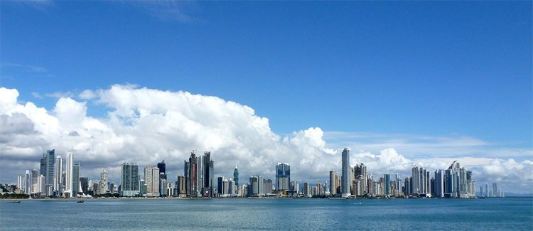 The Panama skyline with the Pacific Oceanin the foreground