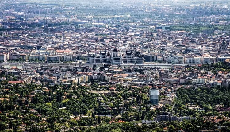 bird-s eye view of the city of Budapest with the Danube river running through it