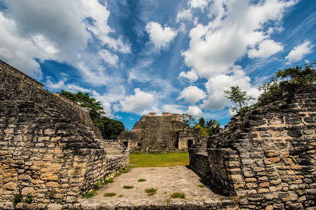 Stone Mayan ruins on a beautiful afternoon