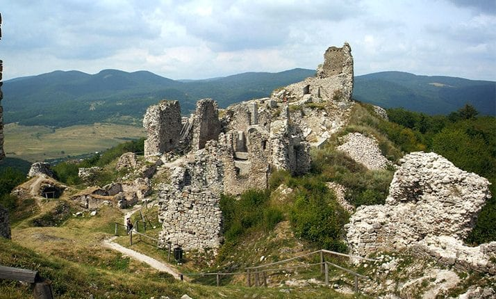 Castle ruins on a mountain in rural Hhungary