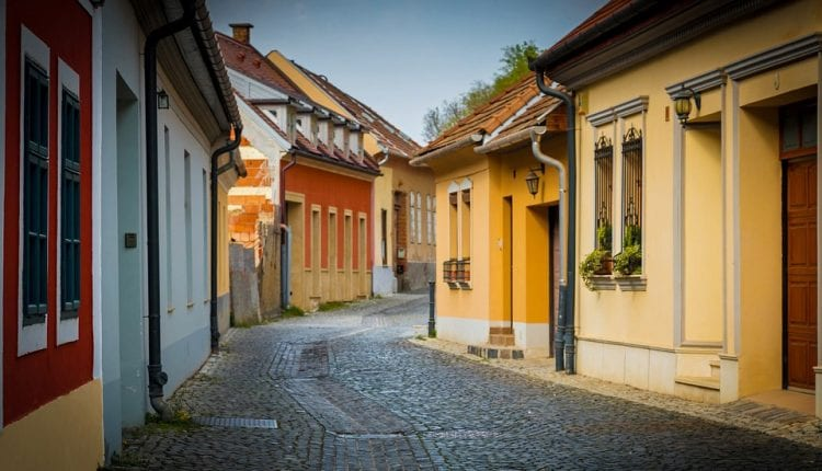 quaint colorful homes and cobblestone streets in Esztergom