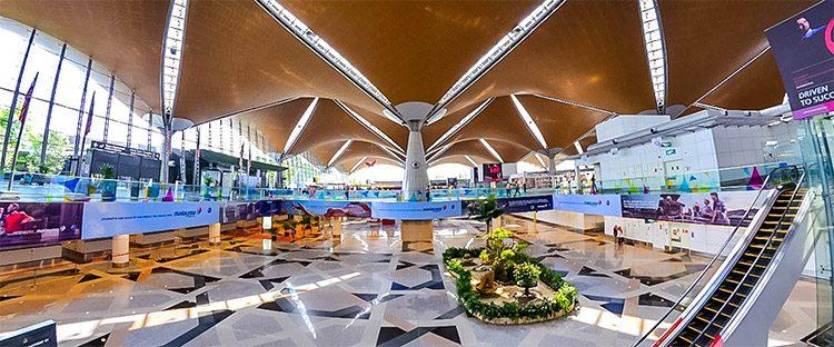 a modern airport terminal in Kuala Lumpur