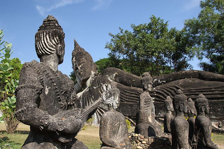stone statues in the Xieng Khuan Temple in Laos