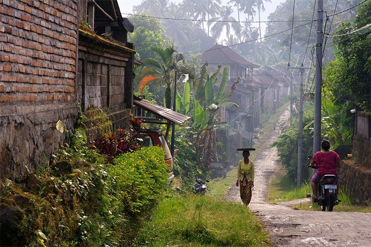 A local woman walks down a path lines with wooden houses carrying a tray on her head