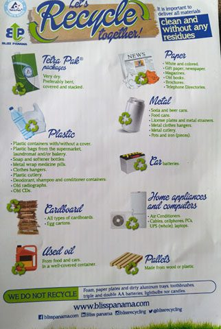 a flyer from bliss panama recycling