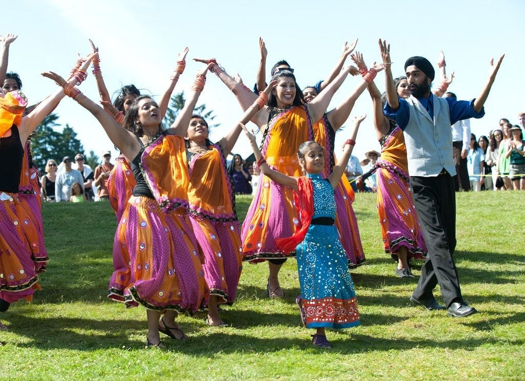 group of people practicing bollywood dancing