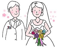 an illustration of a bride and groom