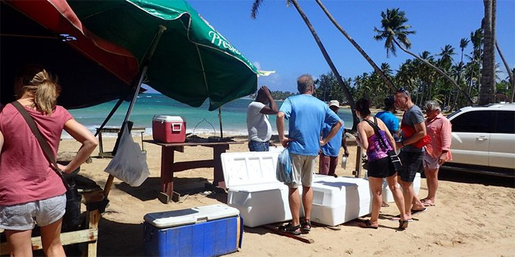 people buying fresh fish being sodl out of coolers on the beach in las terrenas