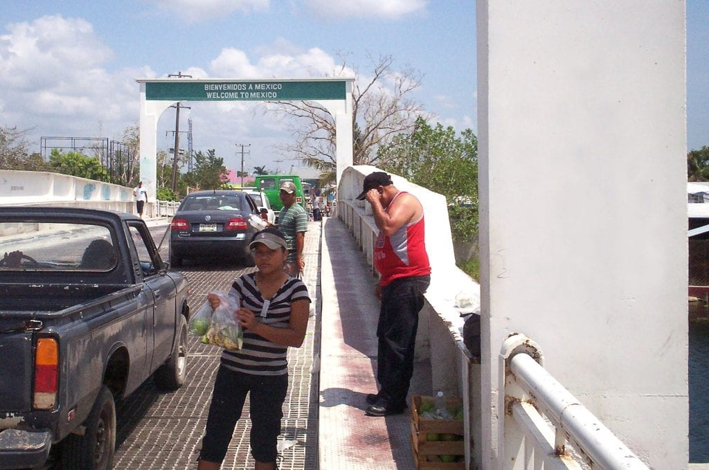 a bridge leading to the border between Mexico and Belize