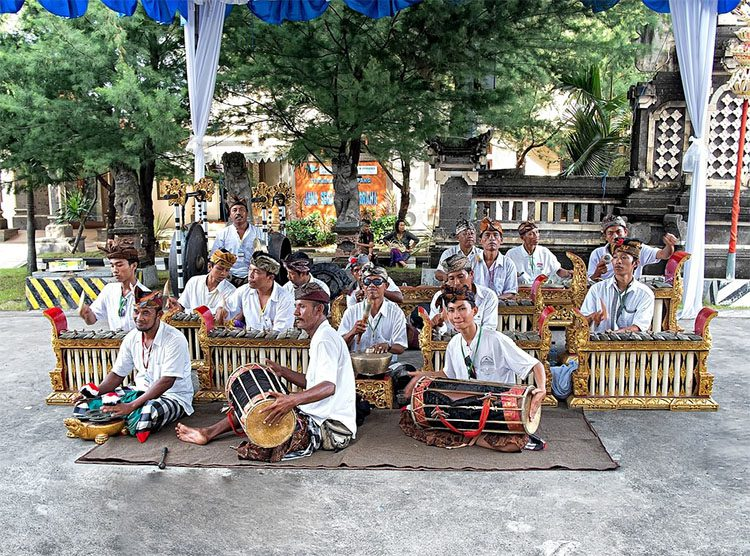 local musicians in a park in INdonesia