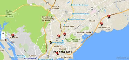 a map of panama city showing the recycyling centers