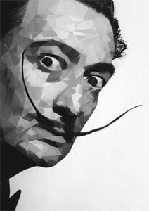 black and white illustration of Salvador Dali with his signature mustache