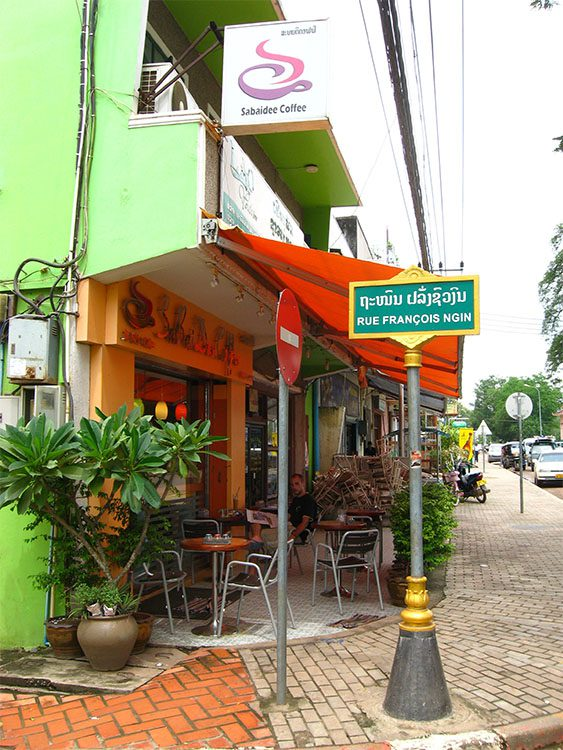 A cafe on a street corner in Vientiane Laos