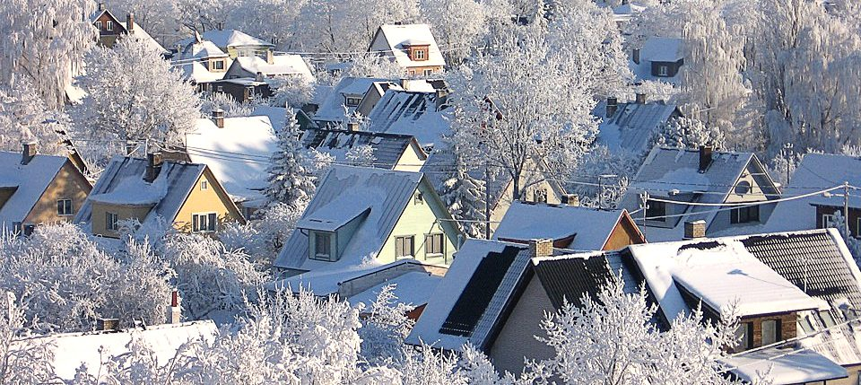 snow covered trees and rooftops in estonia
