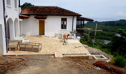 construction continues on the founder's lodge on a hill overlooking the azuero beach