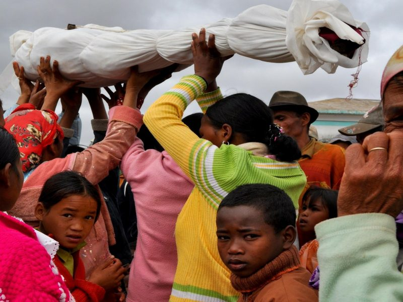 People celebrating the Famadihana festival in Madagascar.