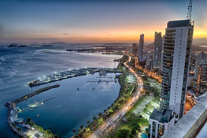 Panama City Skyline on summer night.