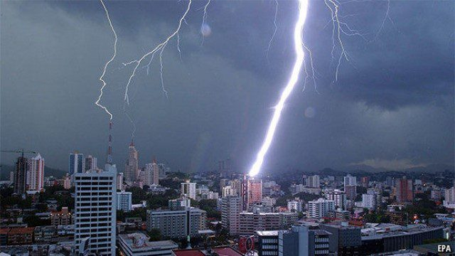 Bolts of lightening sparking down during a Panama thunderstorm.