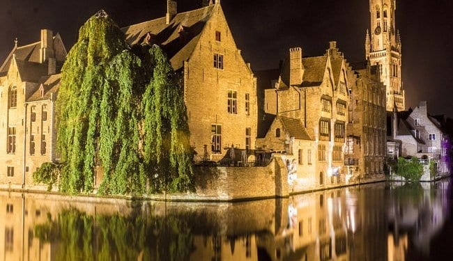 A view of Bruges, Belgium during the night time. Best places to honeymoon