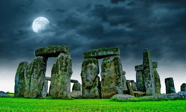 Stonehenge, England underneath a full moon