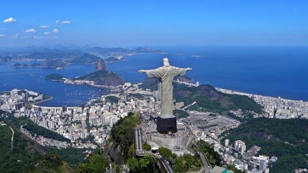 Christ the redeemer statue with city of Rio in the background