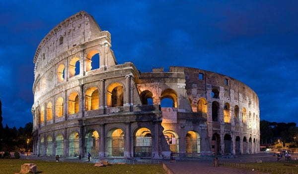 The Colosseum, Rome, at night. One of the alternative wonders of the world