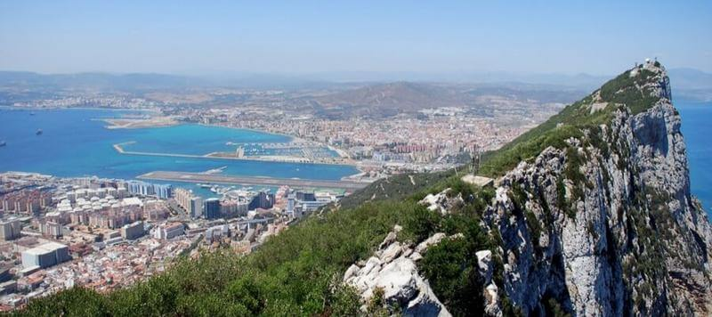 View from 'The Rock' in Gibraltar, with the city below. There are a lot of British expats in Gibraltar and English is widely spoken.