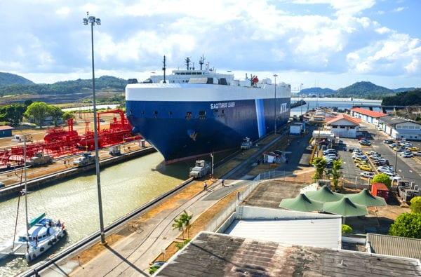 Ship passing through miraflores lock on the Panama Canal