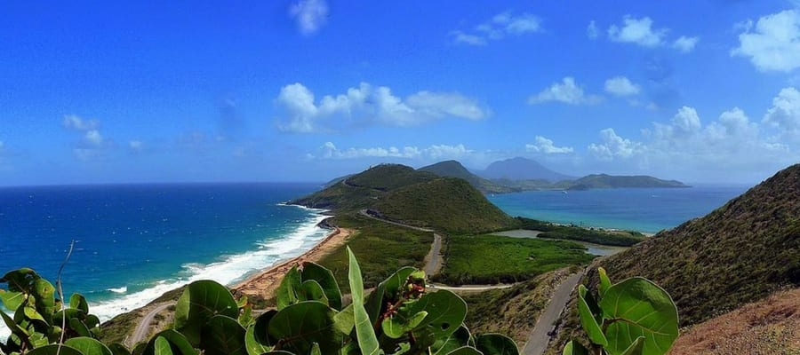 A view from Karibik, St. Kitts looking at the southern tip of St. Kitts on the neighboring Island Nevis.